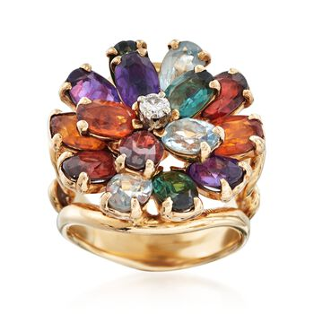 C. 1970 Vintage 7.30 ct. t.w. Multi-Stone Cluster Ring in 14kt Yellow Gold. Size 4.5, , default
