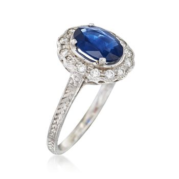 C. 2000 Vintage 1.26 Carat Sapphire and .25 ct. t.w. Diamond Ring in 14kt White Gold. Size 5.75, , default