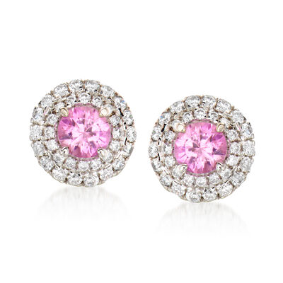 C. 1990 Vintage .80 ct. t.w. Pink Sapphire and .50 ct. t.w. Diamond Earrings in 18kt White Gold