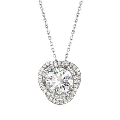 4.03 ct. t.w. CZ Floral Pendant Necklace in Sterling Silver