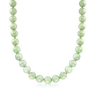 C. 1980 Vintage Jade Bead Necklace in 14kt Yellow Gold, , default