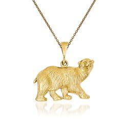 "14kt Yellow Gold Polar Bear Pendant Necklace. 18"", , default"