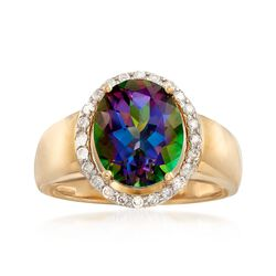 4.20 Carat Mystic Topaz and .24 ct. t.w. Diamond Ring in 14kt Yellow Gold, , default