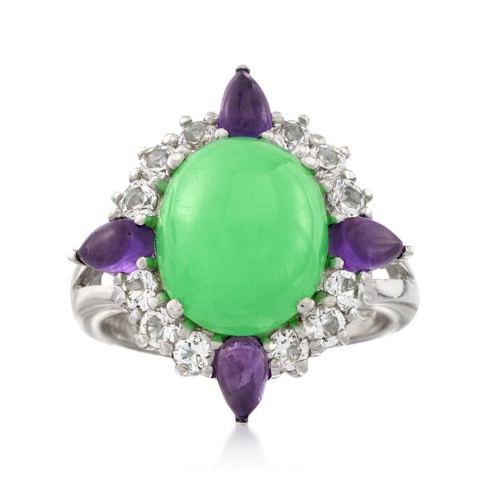 Green Jade and .80 ct. t.w. Amethyst Ring with .80 ct. t.w. White Topaz in Sterling Silver, , default