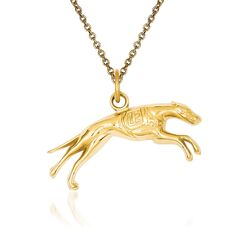 "14kt Yellow Gold Greyhound Pendant Necklace. 18"", , default"