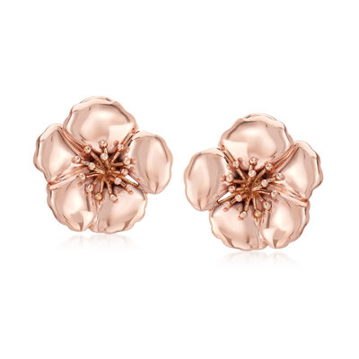 14kt Rose Gold Flower Earrings, , default