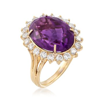 C. 1980 Vintage 9.65 Carat Amethyst and 1.10 ct. t.w. Diamond Ring in 18kt Yellow Gold. Size 6.5, , default