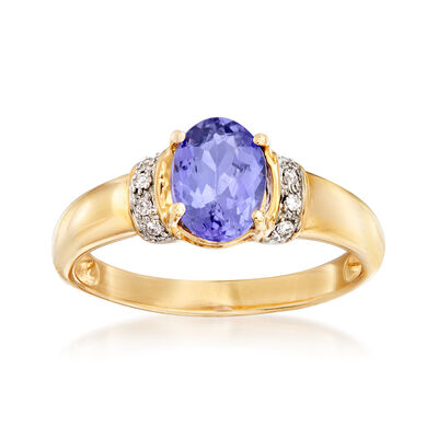 1.00 Carat Tanzanite Ring in 14kt Yellow Gold