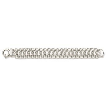 """Italian Sterling Silver Byzantine and Circle-Link Bracelet. 8"""", , default"""
