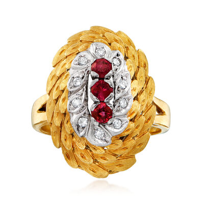 C. 1970 Vintage .50 ct. t.w. Ruby and .15 ct. t.w. Diamond Cocktail Ring in 18kt Yellow Gold, , default