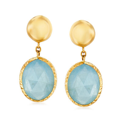 Italian 7.30 ct. t.w. Aquamarine Drop Earrings in 14kt Yellow Gold