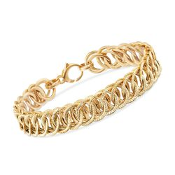 "Italian 18kt Yellow Gold Double-Link Bracelet. 8"", , default"