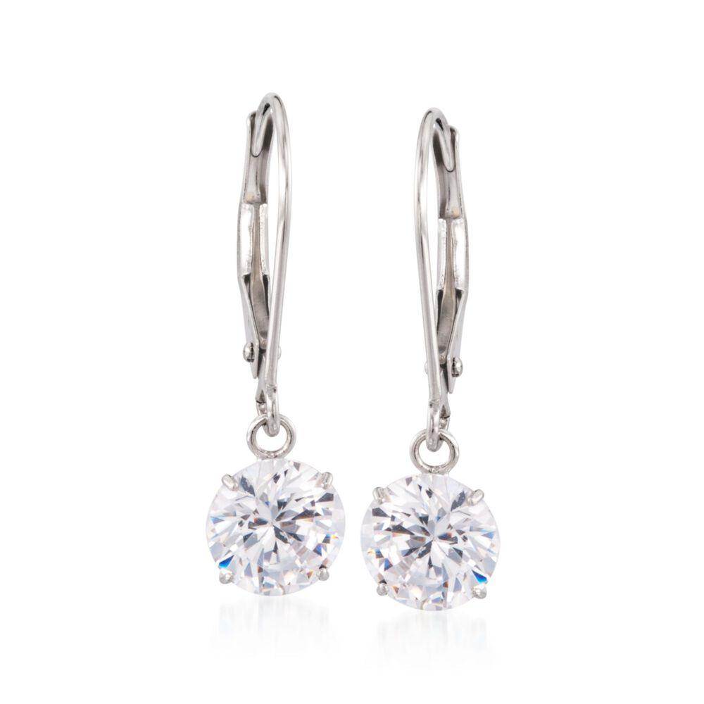 T W Cz Drop Earrings In 14kt White Gold Default