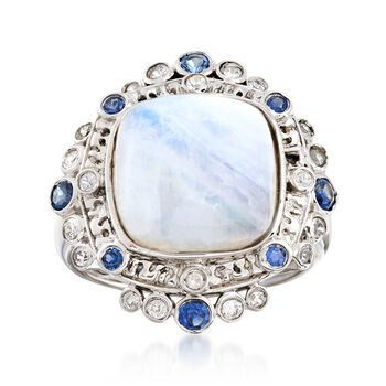 Moonstone Ring With Sapphires and White Zircons in Sterling Silver , , default