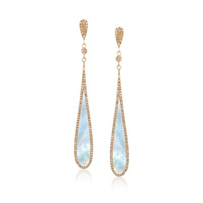 Mother-Of-Pearl and .48 ct. t.w. Diamond Teardrop Earrings in 14kt Yellow Gold