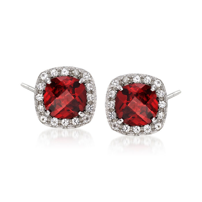 1.00 ct. t.w. Garnet and .10 ct. t.w. White Topaz Stud Earrings in Sterling Silver. Pst, , default