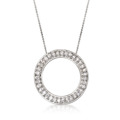 C. 1970 Vintage 2.10 ct. t.w. Diamond Open-Circle Necklace in Platinum