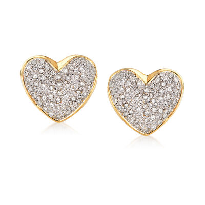 C. 1980 Vintage 1.20 ct. t.w. Diamond Heart Earrings in 18kt Yellow Gold
