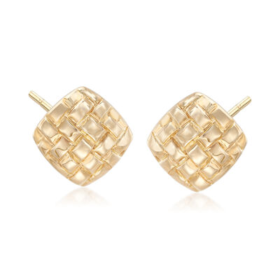 14kt Yellow Gold Woven Stud Earrings, , default
