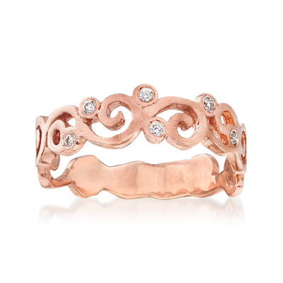 14kt Rose Gold Spiral Ring with Diamond Accents, , default