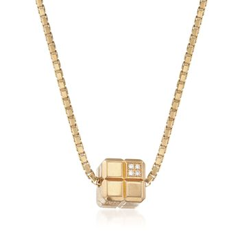 C. 1990 Vintage Chopard Square Slide Necklace with Diamond Accents in 18kt Gold. 16.5""