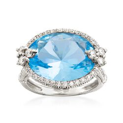 "Judith Ripka ""Monaco"" 9.10 Carat Blue Topaz and .72 ct. t.w. Diamond Ring in 18kt White Gold, , default"