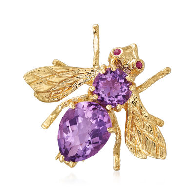 C. 1980 Vintage 2.60 ct. t.w. Amethyst Bee Pin with Ruby Accents in 18kt Yellow Gold, , default