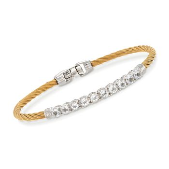 """ALOR """"Burano"""" 3.00 ct. t.w. White Topaz Yellow Cable Bracelet With 14kt White Gold. 7"""", , default"""