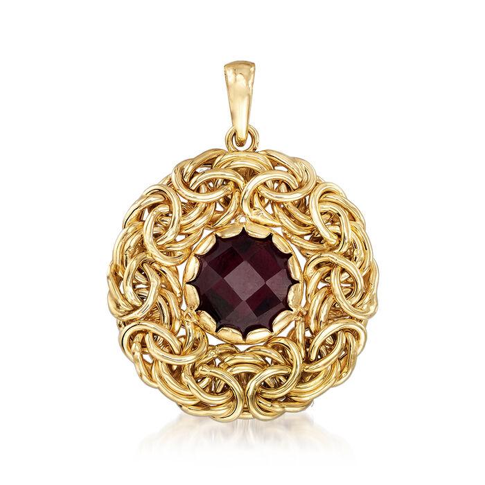 Italian 4.50 Carat Garnet Byzantine Pendant in 14kt Yellow Gold