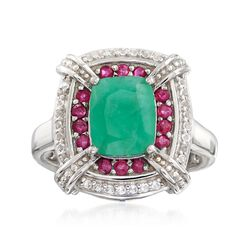 1.70 Carat Emerald and .20 ct. t.w. Ruby Ring With .10 ct. t.w. White Topaz in Sterling Silver, , default