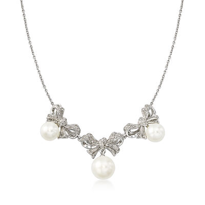 7.5-9.5mm Cultured Pearl and .13 ct. t.w. Diamond Bow Necklace in Sterling Silver, , default