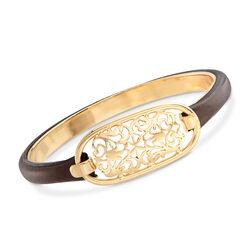 Italian 18kt Gold Over Sterling Silver Filigree Bangle Bracelet With Brown Leather, , default