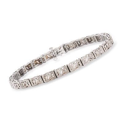 C. 1950 Vintage 14kt White Gold and Platinum Filigree Bracelet, , default