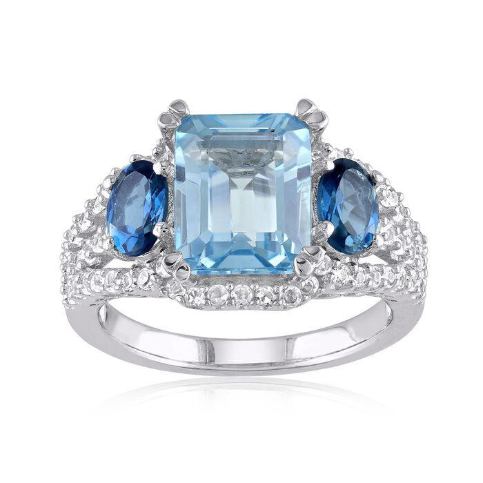 5.10 ct. t.w. London and Sky Blue Topaz and .60 ct. t.w. Synthetic White Sapphire Ring in Sterling Silver