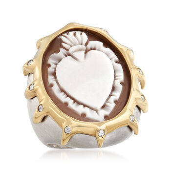 Italian Oval Shell Cameo Heart Ring in 18kt Gold Over Sterling Silver, , default