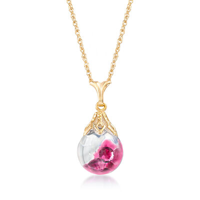 1.40 ct. t.w. Floating Ruby Pendant Necklace in 14kt Yellow Gold, , default