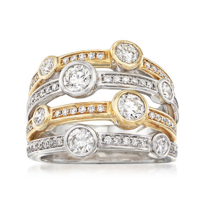 2.08 ct. t.w. Diamond Four-Row Ring in 14kt Two-Tone Gold