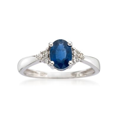 .60 Carat Sapphire Ring with Diamond Accents in 14kt White Gold, , default