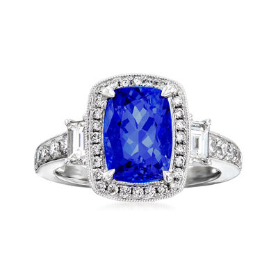 3.00 Carat Tanzanite and .83 ct. t.w. Diamond Ring in 18kt White Gold, , default