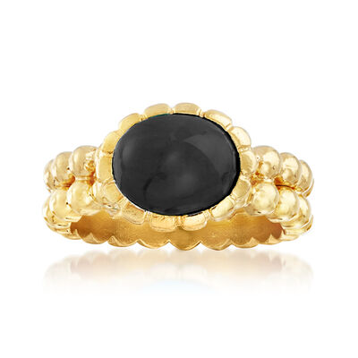 Italian 10x8mm Black Onyx Double-Row Beaded Ring in 18kt Gold Over Sterling