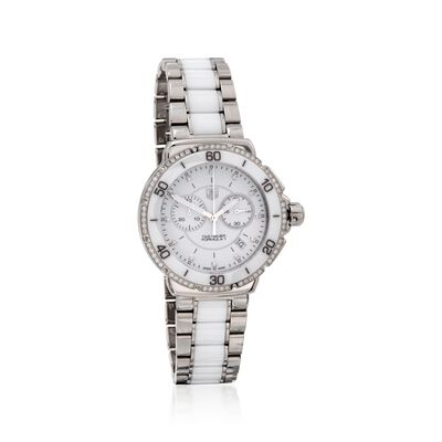 TAG Heuer Formula 1 Women's 41mm .44 ct. t.w. Diamond Watch in Stainless Steel and White Ceramic, , default