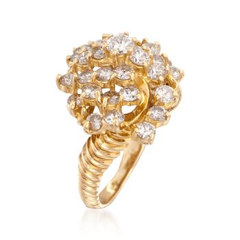 C. 1980 Vintage 3.00 ct. t.w. Diamond Cluster Ring in 14kt Yellow Gold. Size 6.5, , default