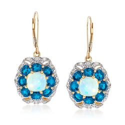 Opal and 2.80 ct. t.w. Apatite and .32 ct. t.w. Diamond Drop Earrings in 14kt Yellow Gold , , default