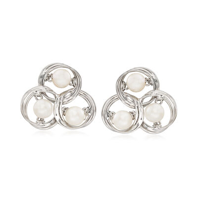 C. 1960 Vintage 5.3mm Cultured Akoya Pearl Swirl Clip-On Earrings in 14kt White Gold, , default