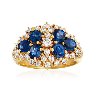C. 1990 Vintage 1.80 ct. t.w. Sapphire and .80 ct. t.w. Diamond Ring in 18kt Yellow Gold, , default