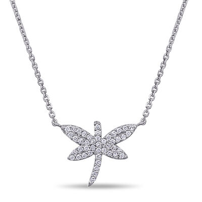 .22 ct. t.w. Diamond Dragonfly Necklace in 18kt White Gold