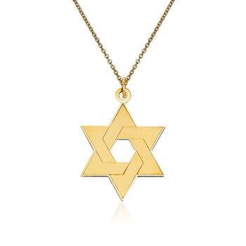 """14kt Yellow Gold Star of David Pendant Necklace. 18"""", , default"""