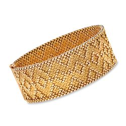 "C. 1960 Vintage 18kt Yellow Gold Wide Diamond-Shaped Pattern Bracelet. 7.25"", , default"