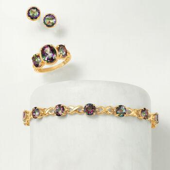 2.20 ct. t.w. Mystic Quartz Stud Earrings in 14kt Yellow Gold
