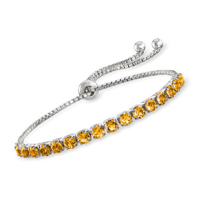 Swarovski Crystal Yellow Bolo Bracelet in Sterling Silver
